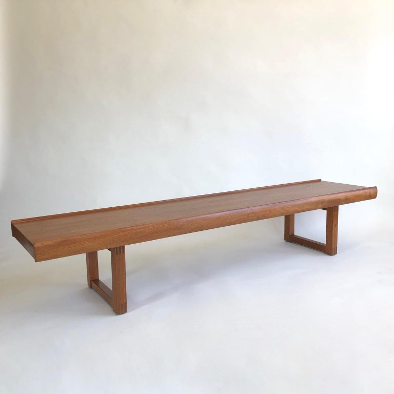 183cm (72inches) long Scandinavian midcentury teak bench or coffee table. This model is heavy, solid and superb quality (see images showing the carpentry joints).
