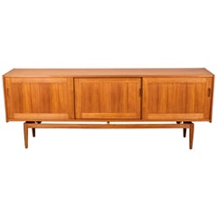 Long and Low Swedish Teak Panel Front Sideboard with 3 Sliding Doors