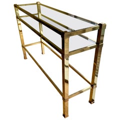 Long and Shallow 1970s Heavy Brass Italian Console with Glass Shelves