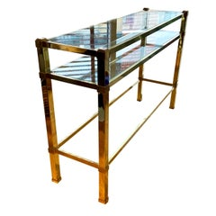 Long and shallow Brass and Glass 1970s Italian Console with Shelves