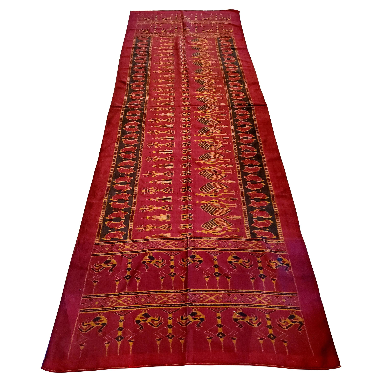 Long Antique Elegant Silk Throw or Runner