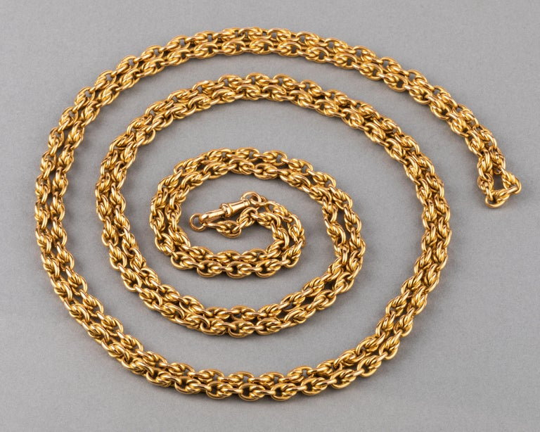 Very beautiful chain, made in France circa 1900.  The chain is long, 160 cm or 64 inches. The weight is 45.8 grams. Made in yellow gold 18k, multiple marks for gold: the eagle head and Rhinoceros head. The chain has presence, 4mm thick. In very good