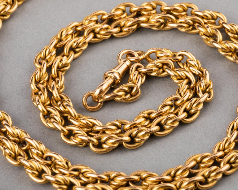 Belle Époque Long Antique Gold French Chain Necklace For Sale