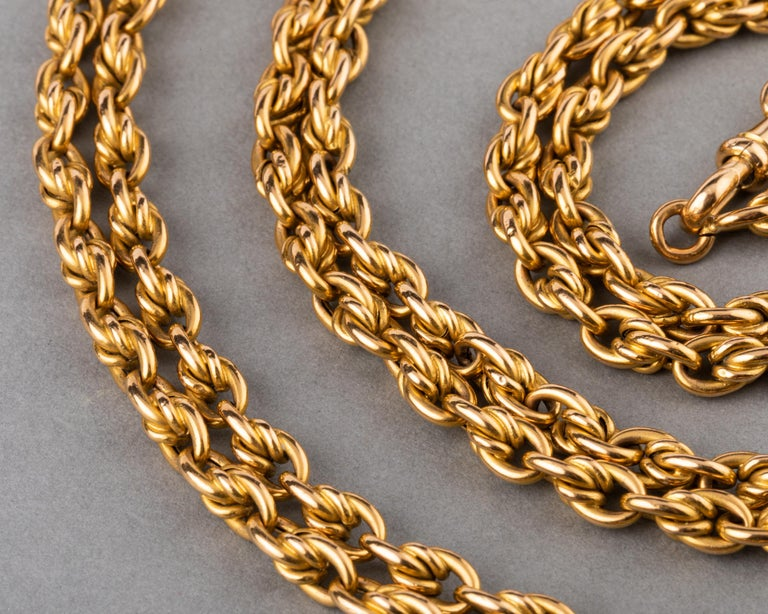 Long Antique Gold French Chain Necklace In Good Condition For Sale In Saint-Ouen, FR