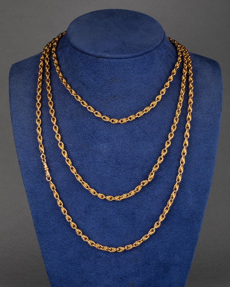 Women's Long Antique Gold French Chain Necklace For Sale