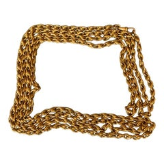 Long Antique Gold French Chain Necklace