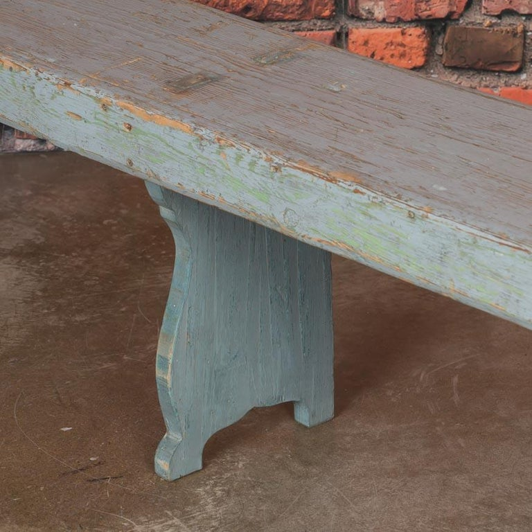 Swedish Long Antique Gray Painted Country Pine Bench For Sale