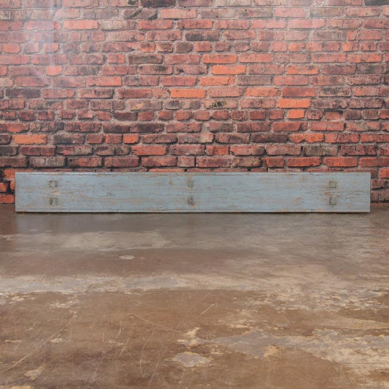 19th Century Long Antique Gray Painted Country Pine Bench For Sale