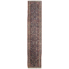 Long Antique Hand Knotted Wool Persian Malayer Runner Rug