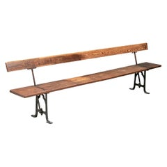 Long Antique Industrial Era Wood and Iron Railway Bench with Reversible Seat