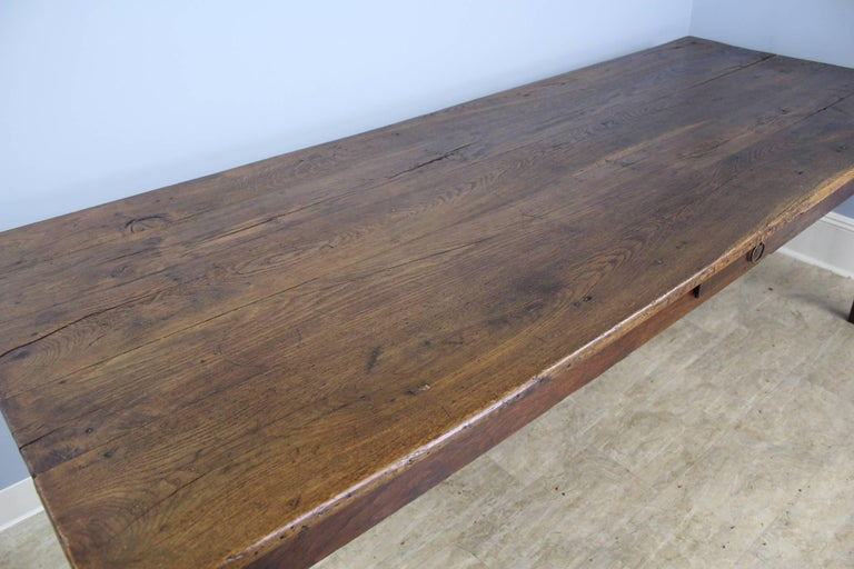 Long Antique Oak Farm Table In Good Condition For Sale In Port Chester, NY