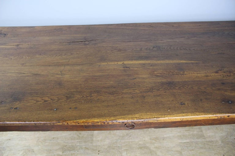 Long Antique Oak Farm Table For Sale 1