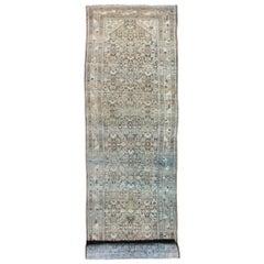 Long Antique Persian Hamedan Runner with Sub-Geometric Design