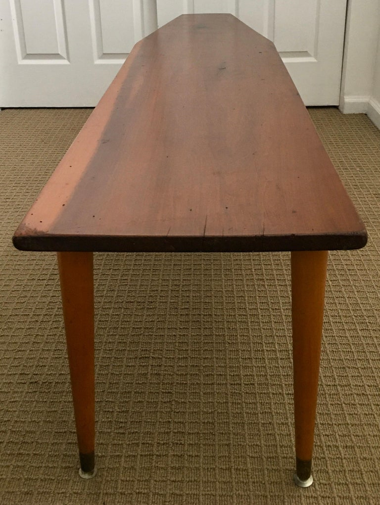 Long Asymmetrical Sculptural Danish Style Wood Coffee Table, Mid-Century Modern For Sale 1