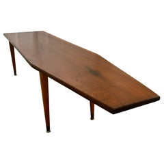 Long Asymmetrical Sculptural Danish Style Wood Coffee Table, Mid-Century Modern