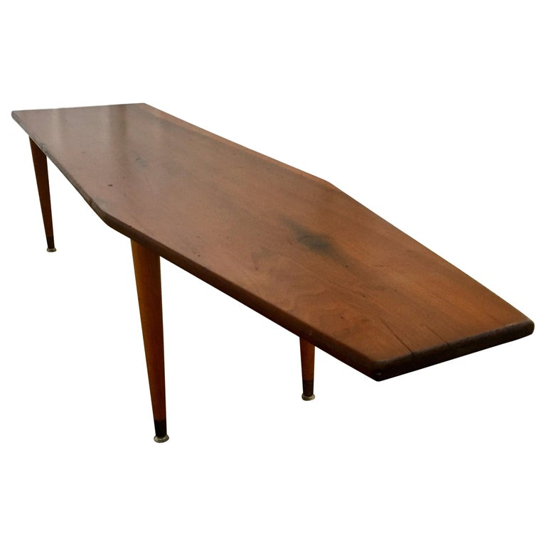 Long Asymmetrical Sculptural Danish Style Wood Coffee Table, Mid-Century Modern For Sale
