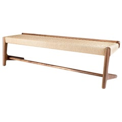 Long Bench, Cantilever, Midcentury-Style, Custom, Danish Cord, Woven, Hardwood