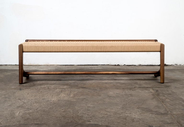 Bench, Cantilever, Mid Century-Style, Custom, Danish Cord, Woven, Hardwood 11