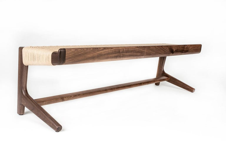 Bench, Cantilever, Mid Century-Style, Custom, Danish Cord, Woven, Hardwood 2