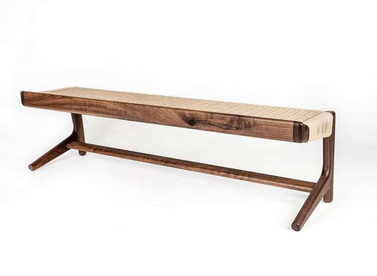 Bench, Cantilever, Mid Century-Style, Custom, Danish Cord, Woven, Hardwood 4