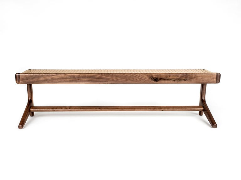 Bench, Cantilever, Mid Century-Style, Custom, Danish Cord, Woven, Hardwood 5