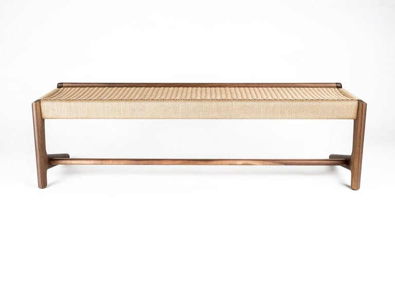 Bench, Cantilever, Mid Century-Style, Custom, Danish Cord, Woven, Hardwood 6