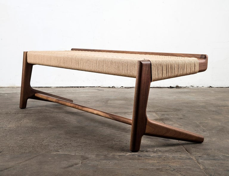 Bench, Cantilever, Mid Century-Style, Custom, Danish Cord, Woven, Hardwood 7