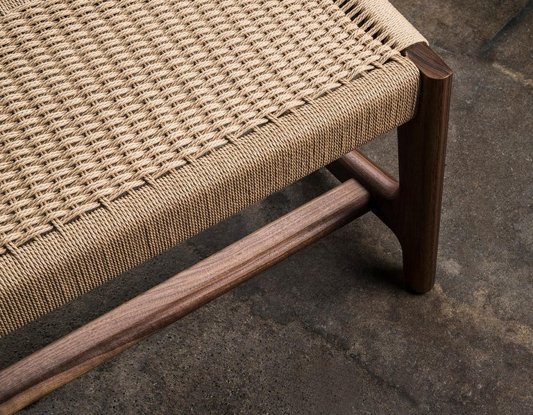 Bench, Cantilever, Mid Century-Style, Custom, Danish Cord, Woven, Hardwood 8