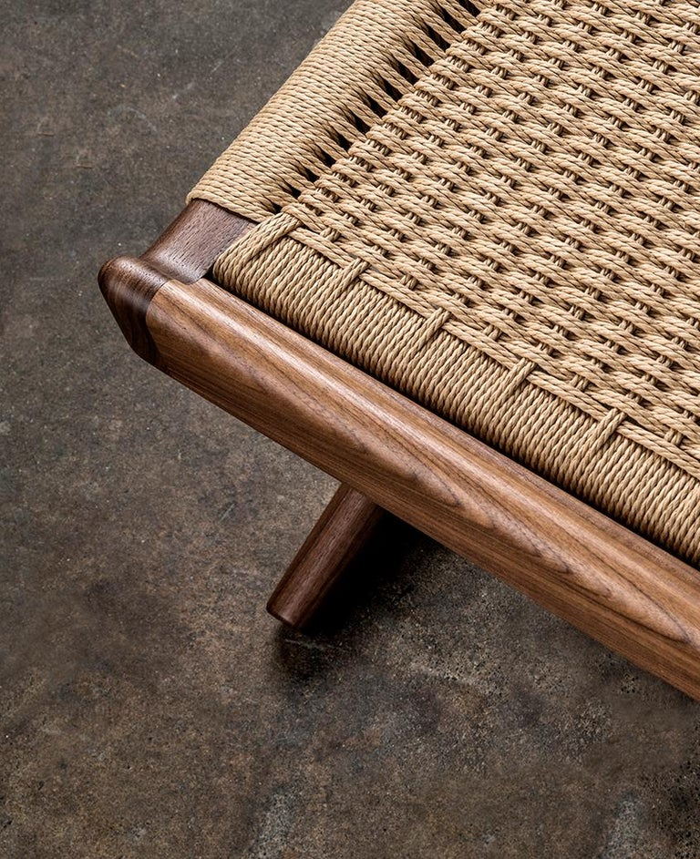 Bench, Cantilever, Mid Century-Style, Custom, Danish Cord, Woven, Hardwood 9