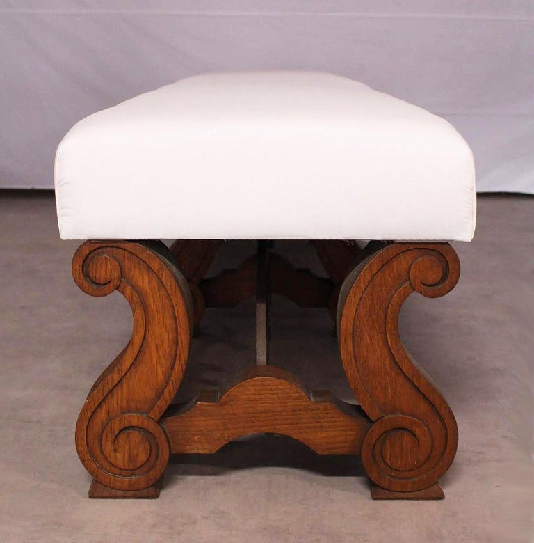Spanish Colonial Long Bench Ottoman Spanish circa 1920 Oak Wrought Iron Includes Recovering Rare For Sale