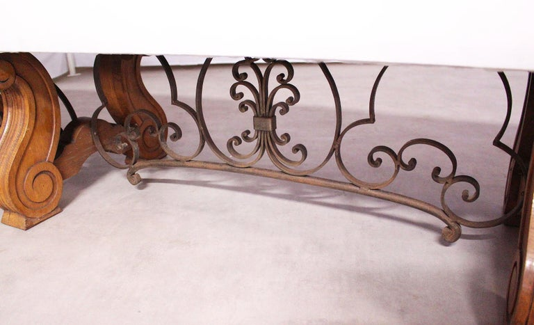 Forged Long Bench Ottoman Spanish circa 1920 Oak Wrought Iron Includes Recovering Rare For Sale