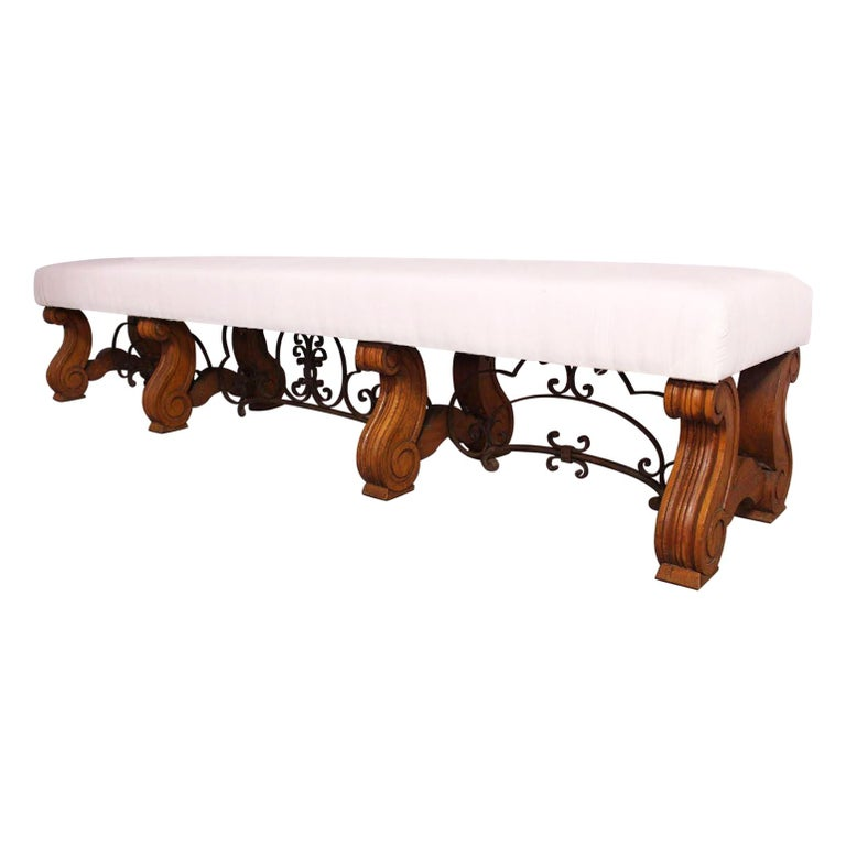 Long Bench Ottoman Spanish circa 1920 Oak Wrought Iron Includes Recovering Rare For Sale
