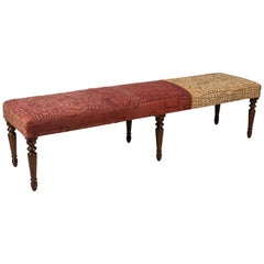 Long Bench with Stained Turned Legs Upholstered in Vintage African Kuba Cloth