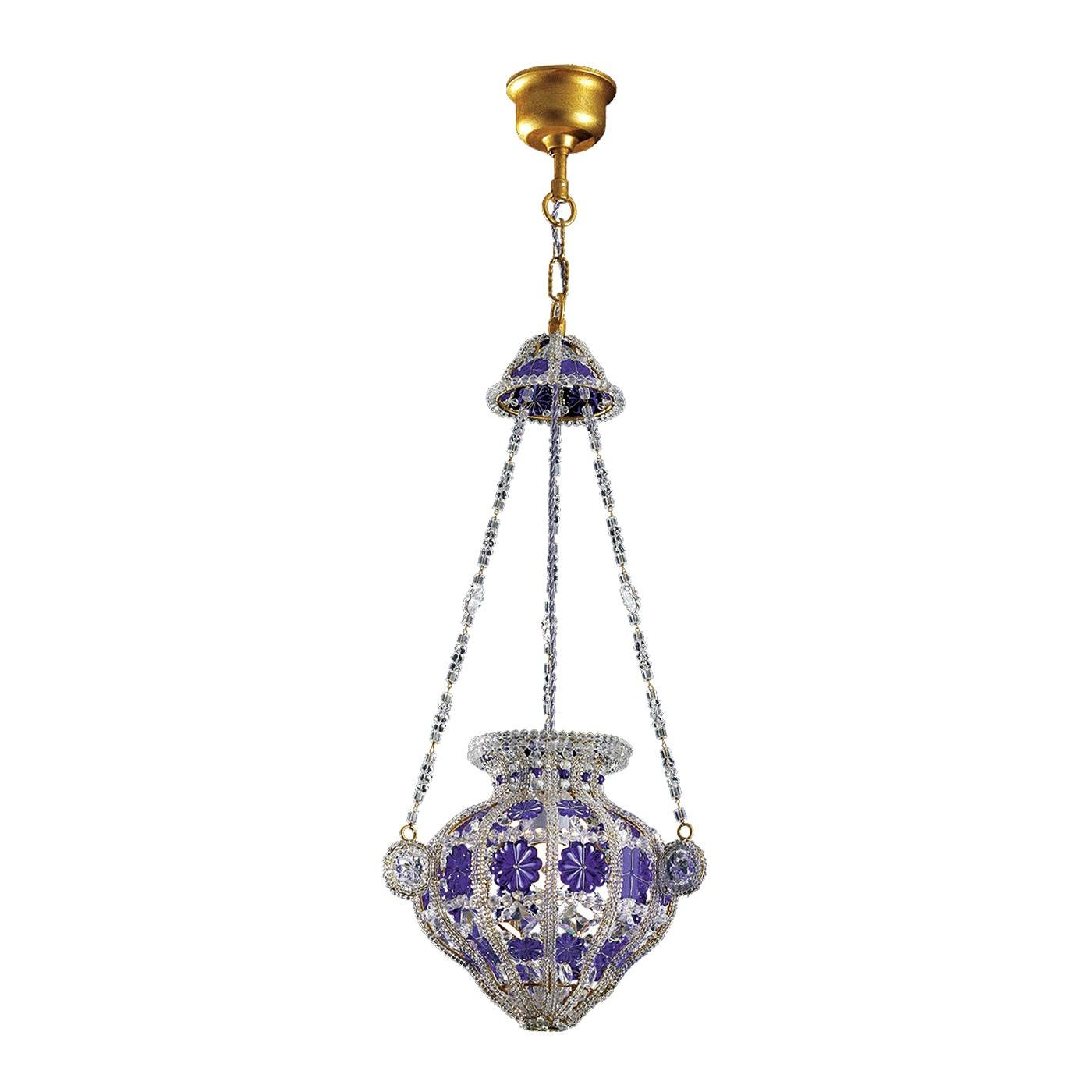Long Blue Crystal Chandelier by Banci