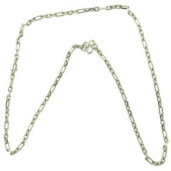 Long Box Chain Link Necklace in Platinum
