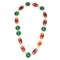 Long Carnelian and Malachite Necklace
