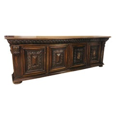 Long Carved Wood Console