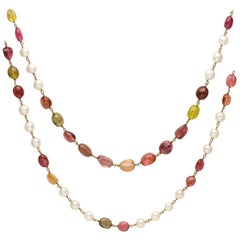 Long Chain Necklace with Pearls and Multi-Color Tormaline Beads in 18K Gold Wire