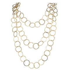 Long Chain Yellow Gold Link Necklace