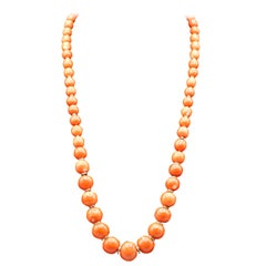 Long Coral Bead Diamond and 18 Karat Gold Necklace