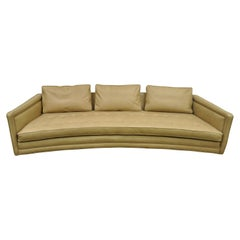 Long Curved Harvey Probber Button Tufted Leather Mid-Century Modern Sofa