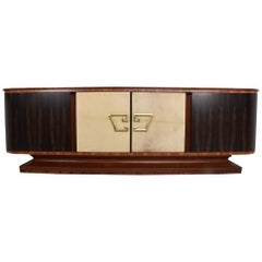 Long Curvy Credenza Exotic Wood Trio Mexican Regency 1950s Roberto & Mito Block