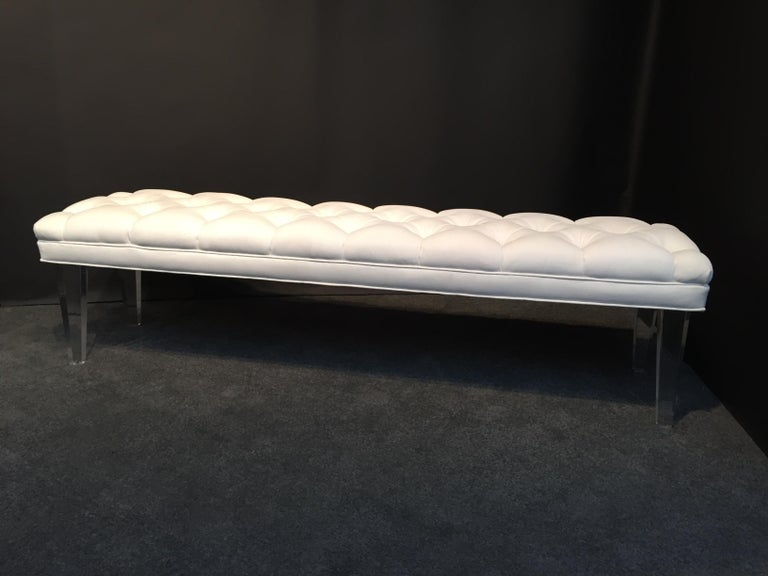 Mid-Century Modern Long Custom Lucite Tufted King Size Bench For Sale
