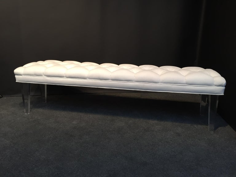 American Long Custom Lucite Tufted King Size Bench For Sale