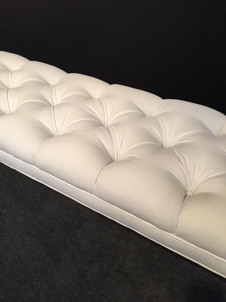 Brushed Long Custom Lucite Tufted King Size Bench For Sale