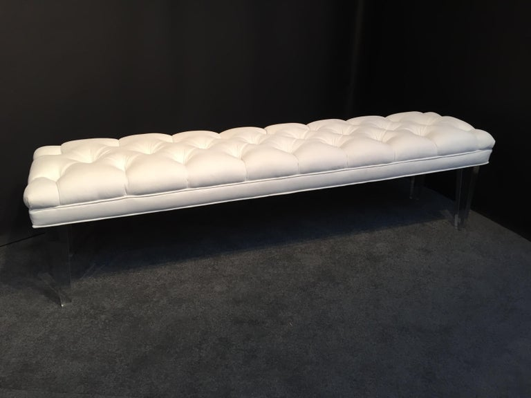 Long Custom Lucite Tufted King Size Bench In Fair Condition For Sale In Westport, CT