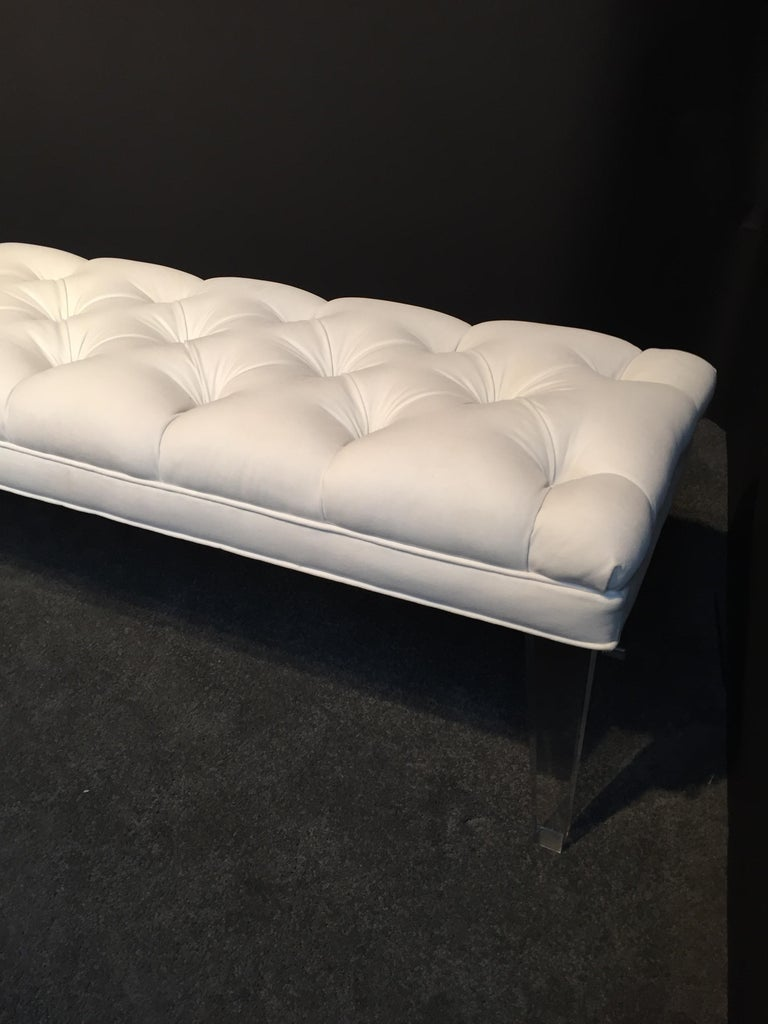 Contemporary Long Custom Lucite Tufted King Size Bench For Sale