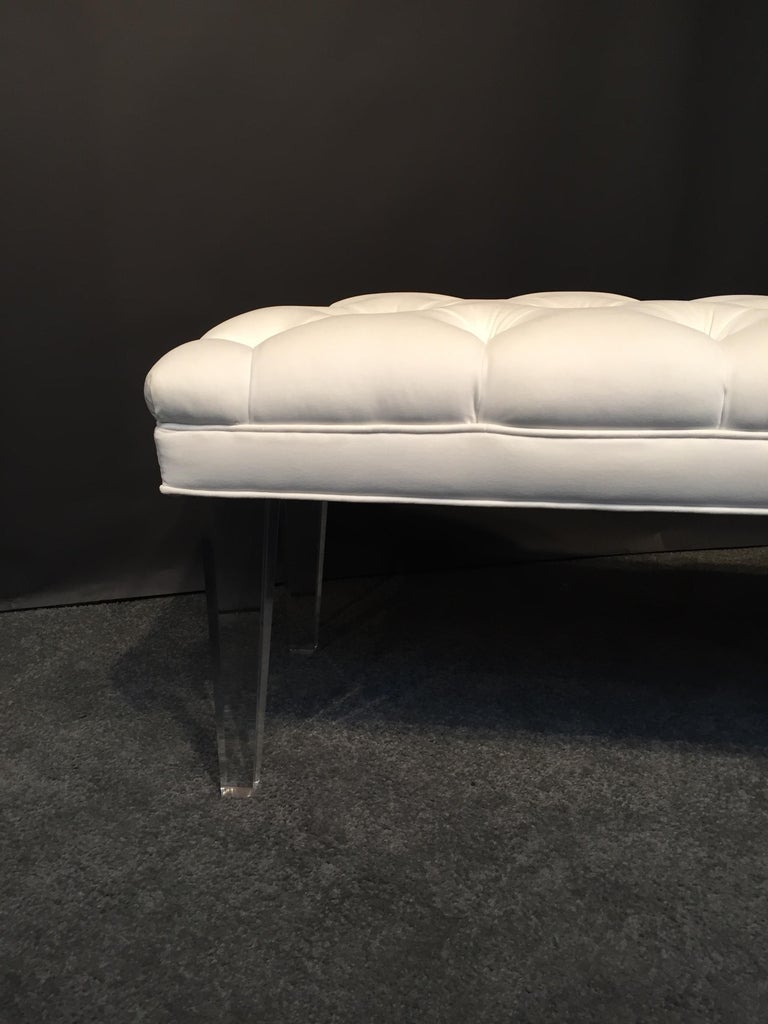 Fabric Long Custom Lucite Tufted King Size Bench For Sale
