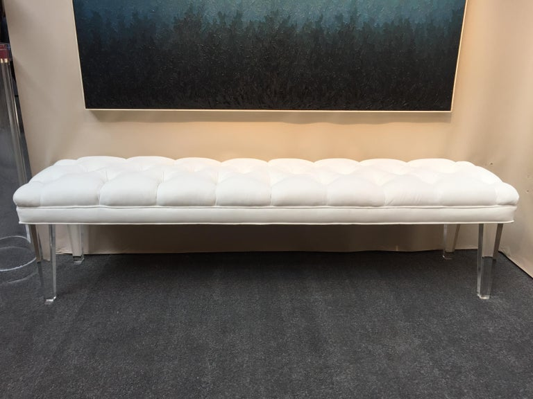 Long Custom Lucite Tufted King Size Bench For Sale 1
