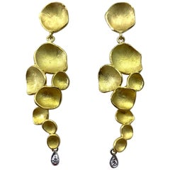 "Long Dangle ""Peperomia"" Earrings in 18 Karat Yellow Gold with Diamond Accents"